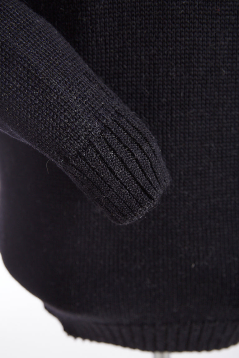 Inis Meáin Black Plated Zip Neck Sweater - Sweaters - Inis Meáin - LALONDE's