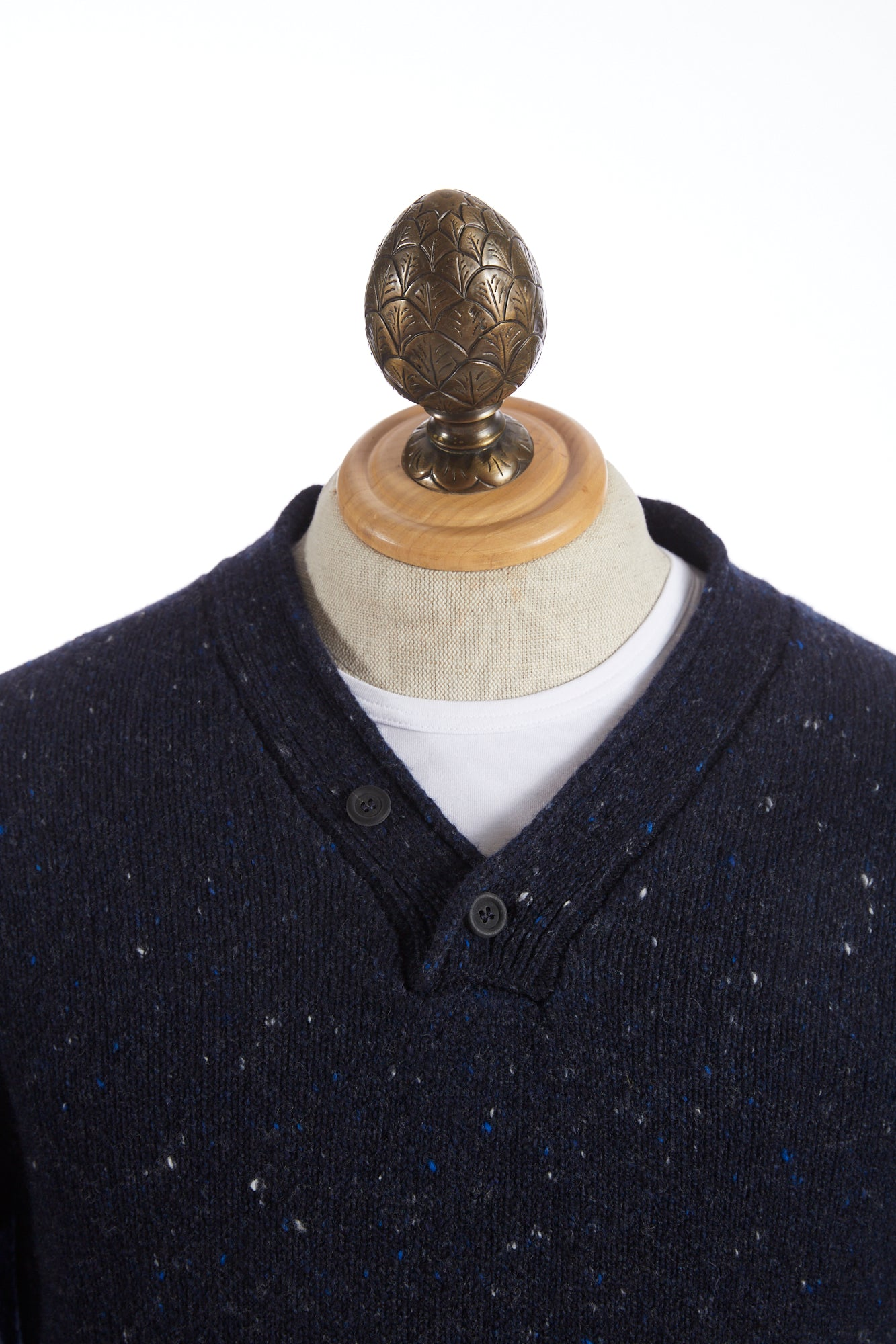 Inis Meáin Blue Donegal Plated Hurler Sweater - Sweaters - Inis Meáin - LALONDE's