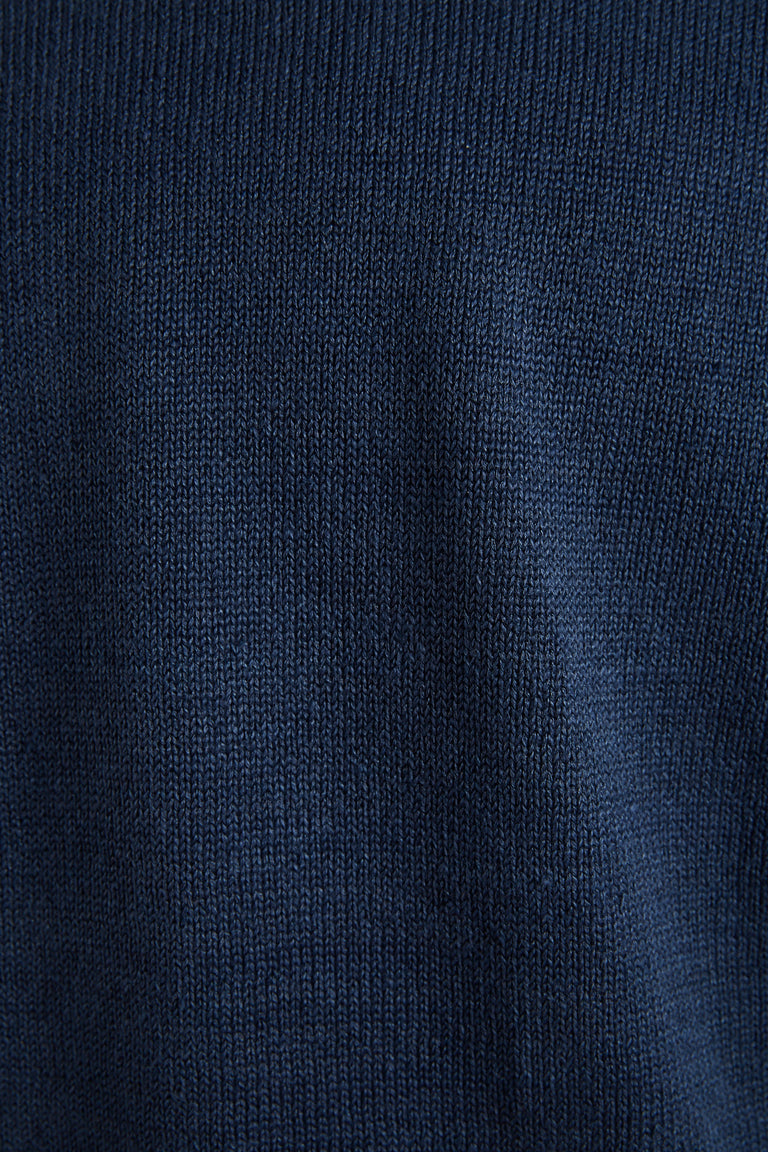 Inis Meáin Blue Linen Shoulder Detail Crewneck Sweater - Sweaters - Inis Meáin - LALONDE's
