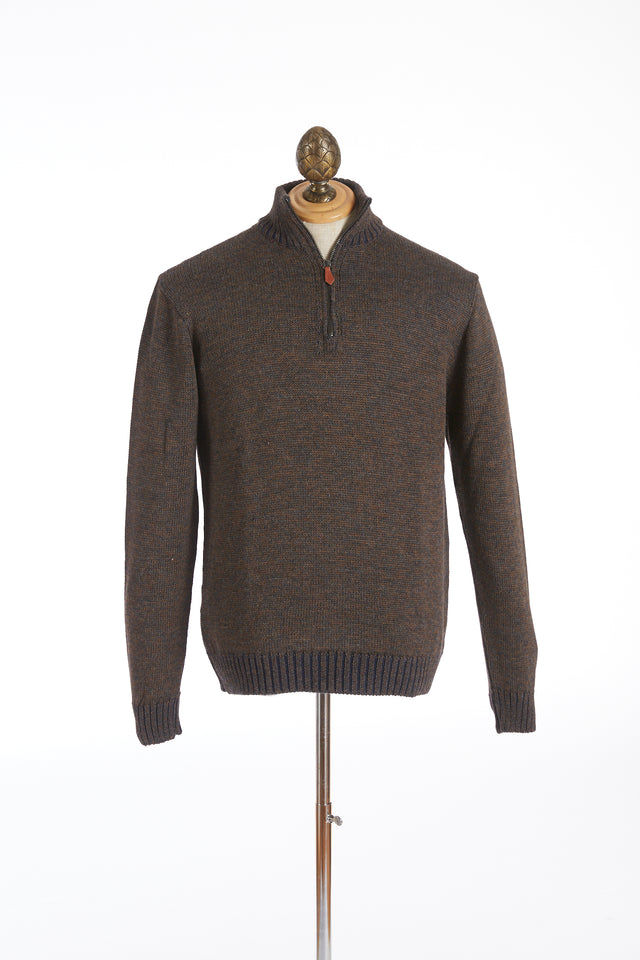 Inis Meáin Brown Plated Zip Neck Sweater - Sweaters - Inis Meáin - LALONDE's