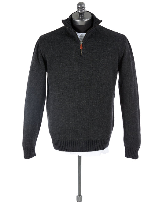 Inis Meáin Charcoal Grey Alpaca-Wool Quarter Zip Sweater