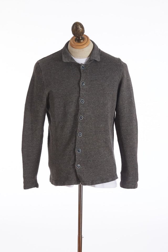 Inis Meáin Dark Grey Linen Sweater Shirt Jacket - Sweaters - Inis Meáin - LALONDE's