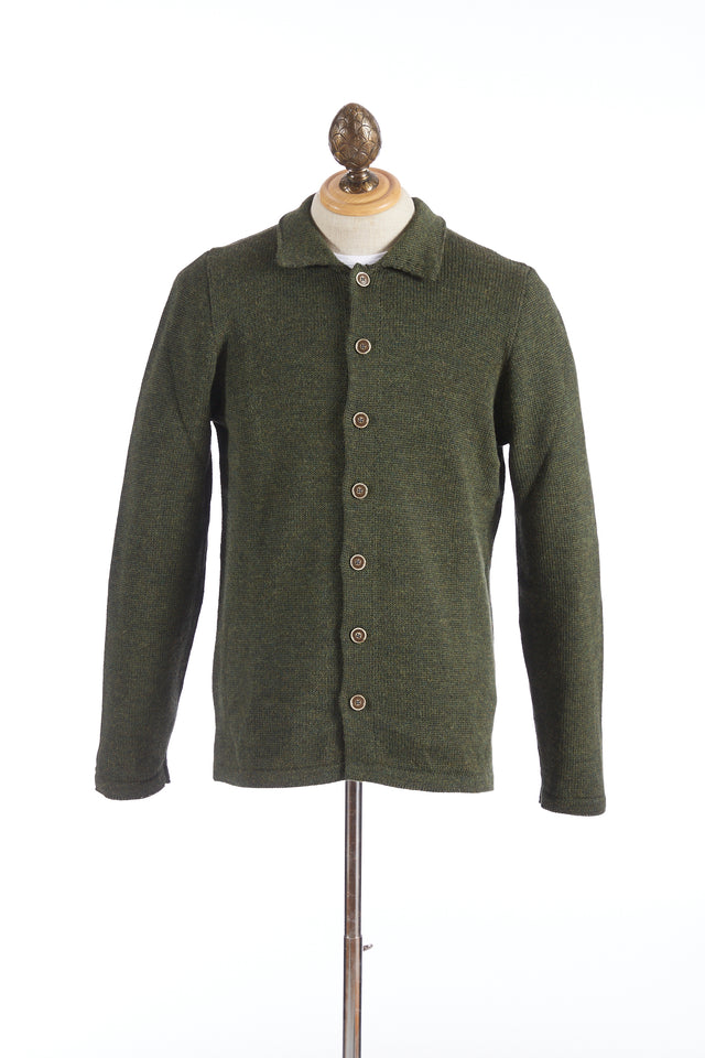 Inis Meáin Green Wool-Alpaca Shirt Jacket Sweater - Sweaters - Inis Meáin - LALONDE's