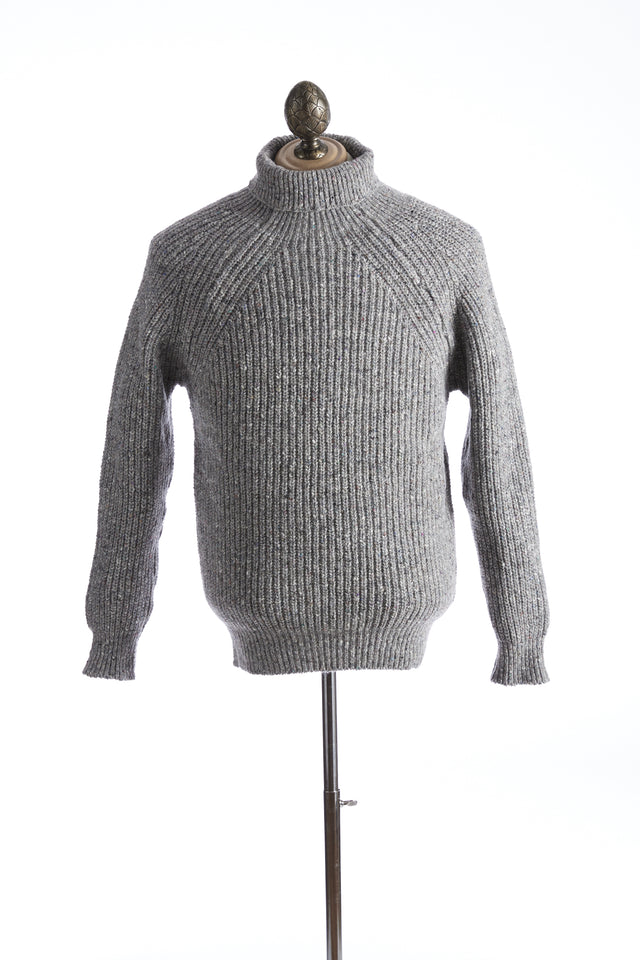 Inis Meáin Grey Donegal Ribbed Turtleneck Sweater