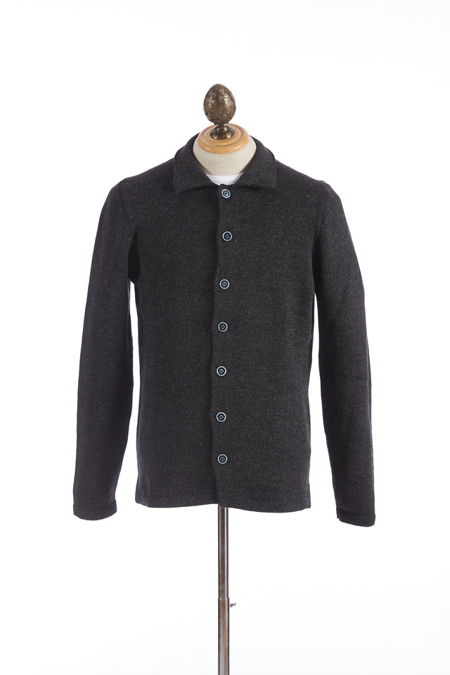 Inis Meáin Grey Wool-Alpaca Shirt Jacket Sweater - Sweaters - Inis Meáin - LALONDE's