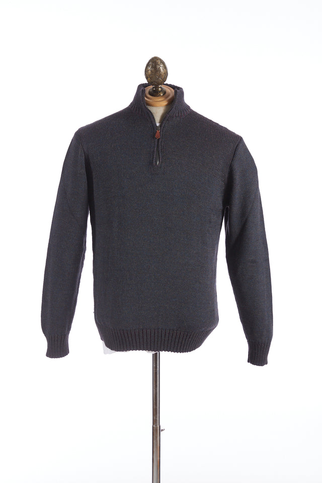 Inis Meáin Indigo Plated Zip Neck Sweater - Sweaters - Inis Meáin - LALONDE's