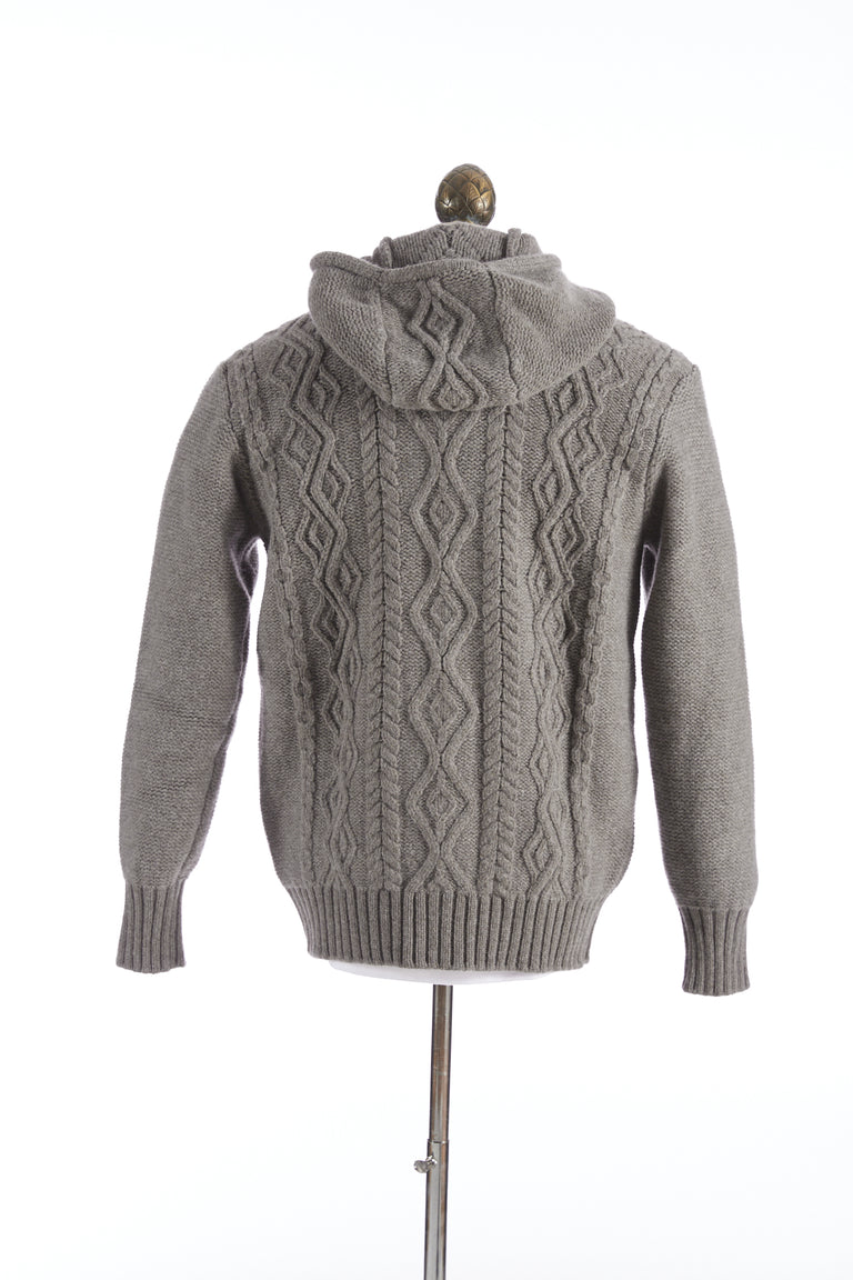 Inis Meáin Grey Castoro Aran Hoodie Sweater - Sweaters - Inis Meáin - LALONDE's