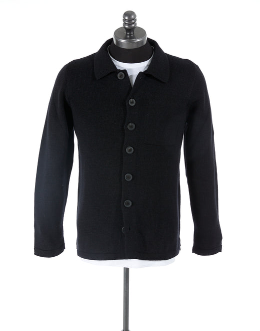 Inis Meáin Midnight Plated Alpaca Shirt Jacket Sweater