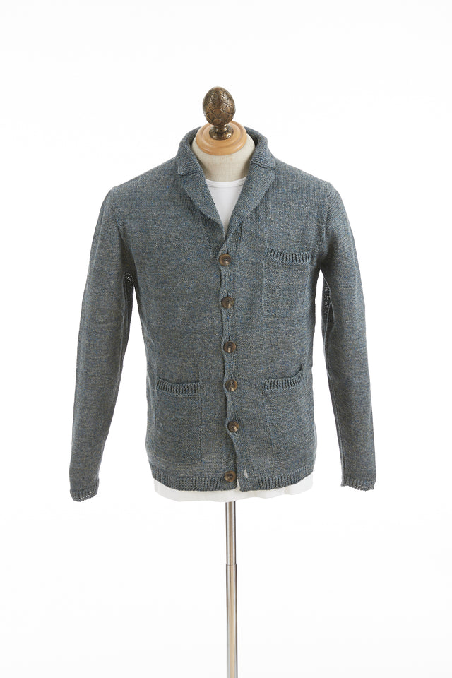 Inis Meáin Oyster Blue Linen Pub Jacket - Sweaters - Inis Meáin - LALONDE's