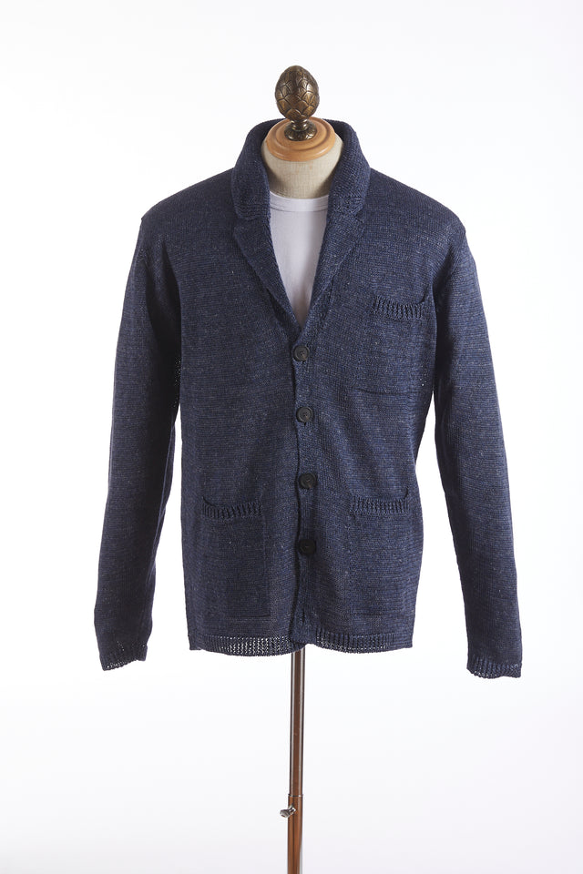 Inis Meáin Purple Linen Seal Pub Sweater Jacket