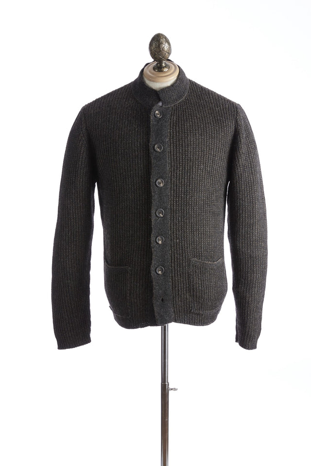 Inis Meáin Reverse Nehru Brown Cardigan Sweater - Sweaters - Inis Meáin - LALONDE's