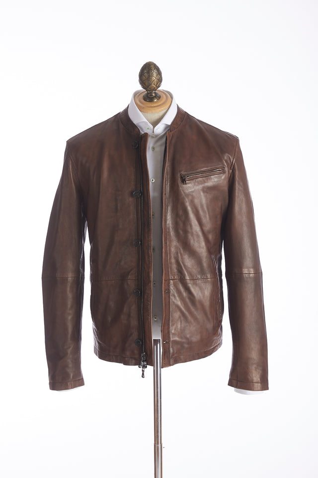 John Varvatos U.S.A. Brown Band Collar Leather Jacket - Outerwear - John Varvatos - LALONDE's