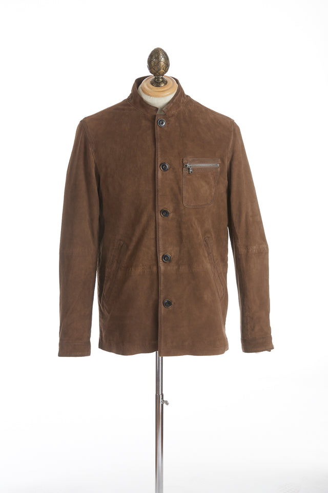 John Varvatos Brown Suede Band Collar Jacket - Outerwear - John Varvatos - LALONDE's
