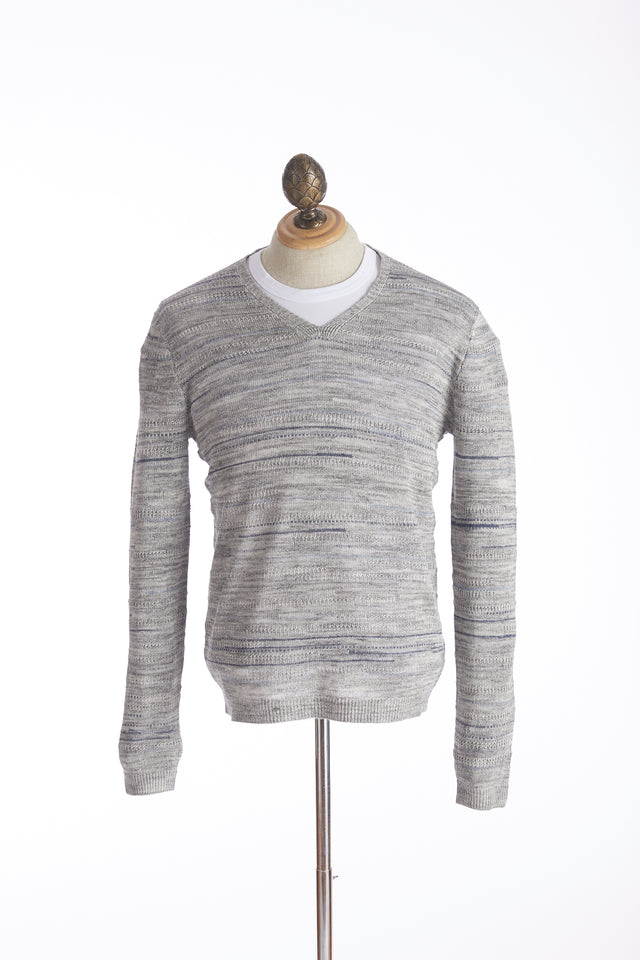 John Varvatos Light Grey Striped Sweater - Sweaters - John Varvatos - LALONDE's