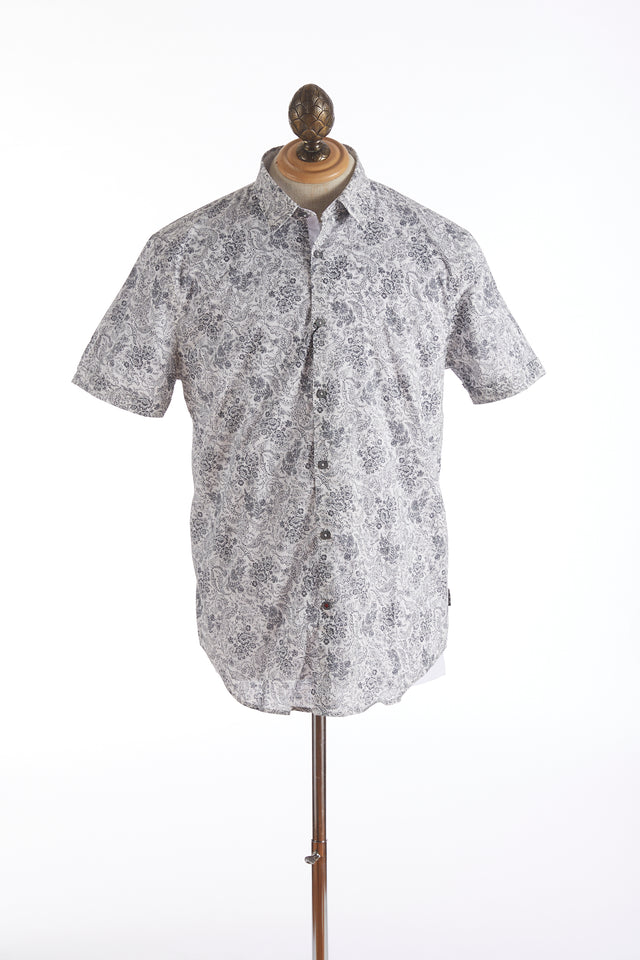 John Varvatos Short Sleeve Floral Print Shirt