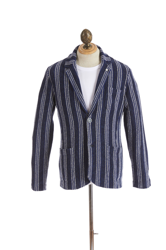 L.B.M. 1911 Blue Vertical Striped Cotton Sweater Jacket - Sport Jackets - L.B.M. 1911 - LALONDE's
