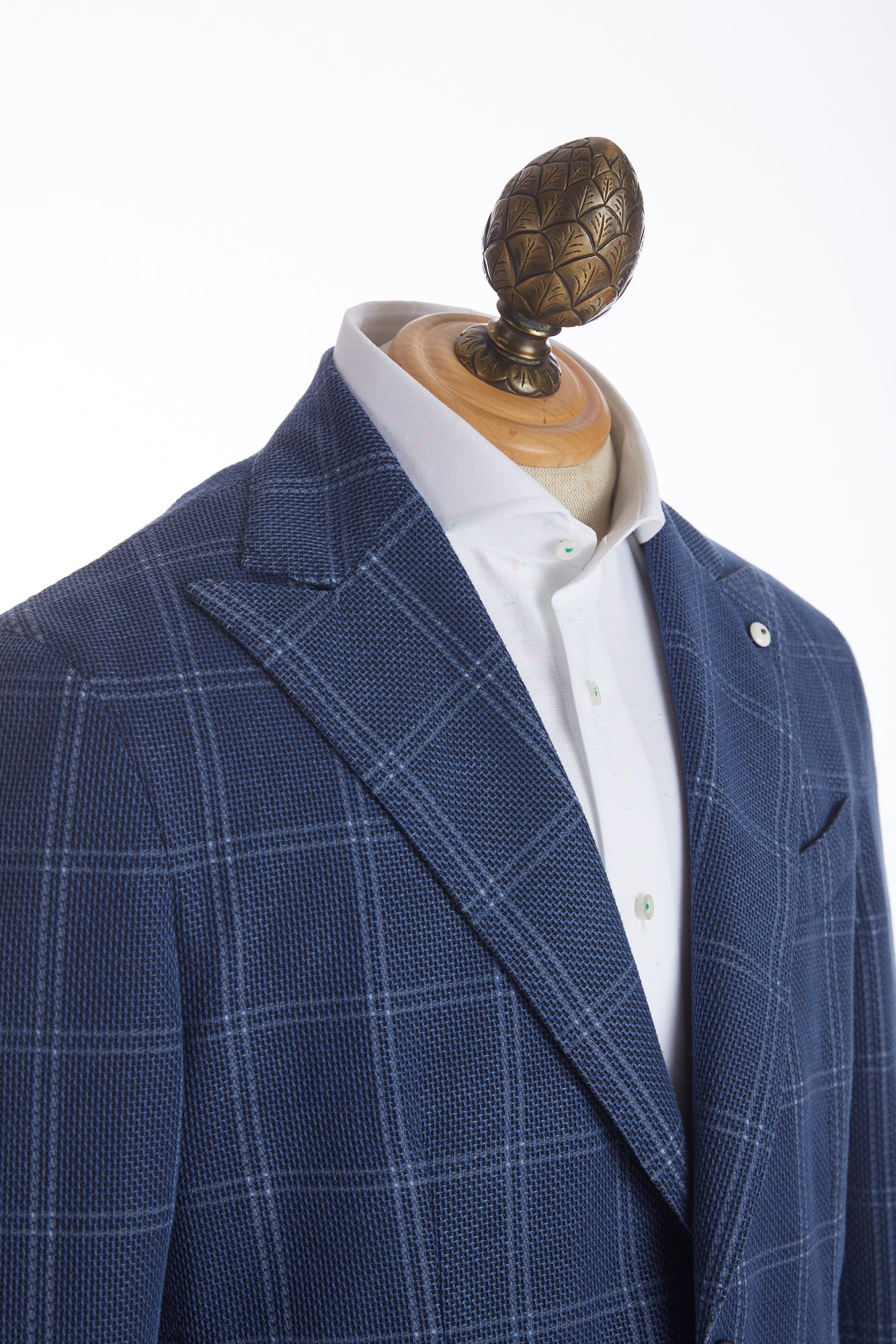 L.B.M. 1911 Blue Windowpane Flax-Cotton Peak Lapel Sport Jacket - Sport Jackets - L.B.M. 1911 - LALONDE's