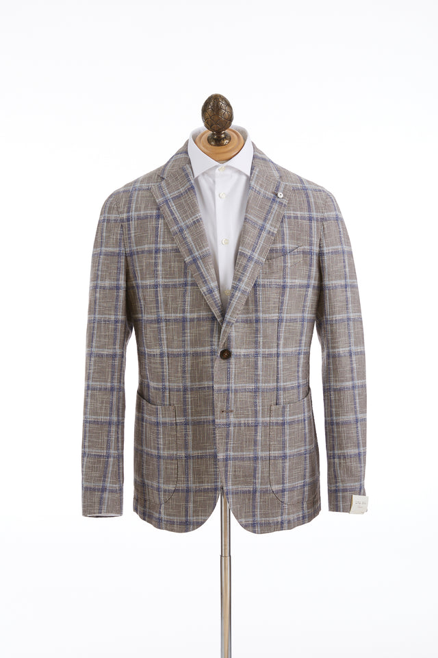 L.B.M. 1911 Brown Windowpane Cotton-Flax Sport Jacket - Sport Jackets - L.B.M. 1911 - LALONDE's