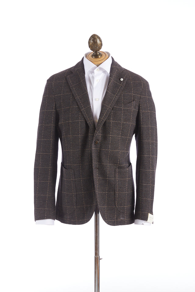 L.B.M. 1911 Brown Stretch Pique Windowpane Sport Jacket - Sport Jackets - L.B.M. 1911 - LALONDE's