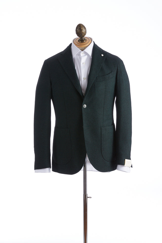 L.B.M. 1911 Emerald Green Wool Herringbone Jacket