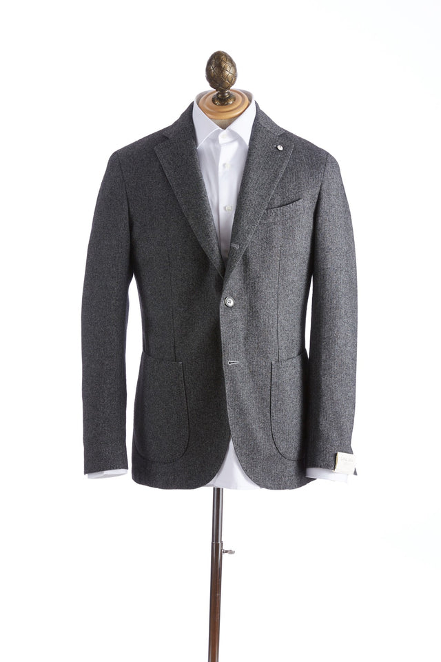 L.B.M. 1911 Grey Wool Herringbone Jacket