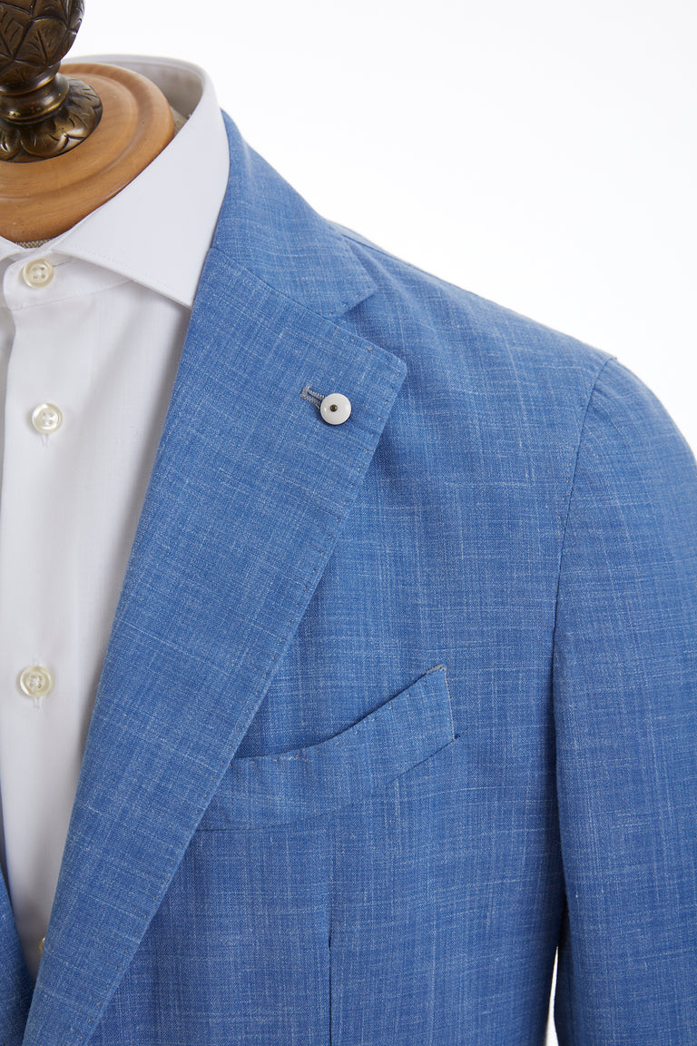 L.B.M. 1911 Light Blue Wool-Linen Sport Jacket Lapel