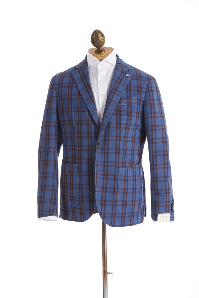 L.B.M. 1911 Light Blue and Maroon Plaid Sport Jacket - Sport Jackets - L.B.M. 1911 - LALONDE's