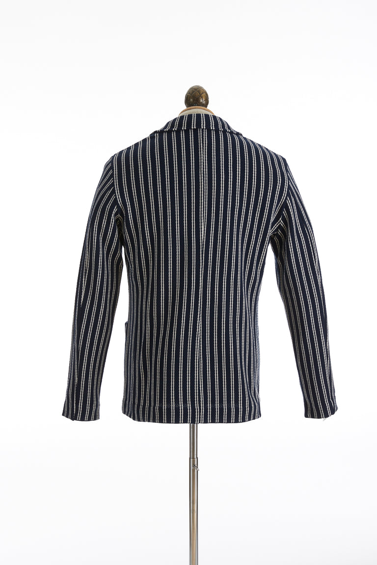 L.B.M. 1911 Navy Striped Cotton Sweater Blazer