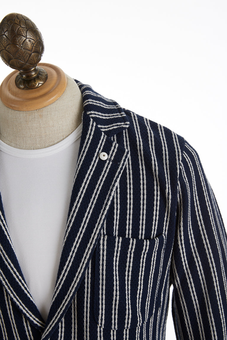L.B.M. 1911 Navy Striped Cotton Sweater Cardigan