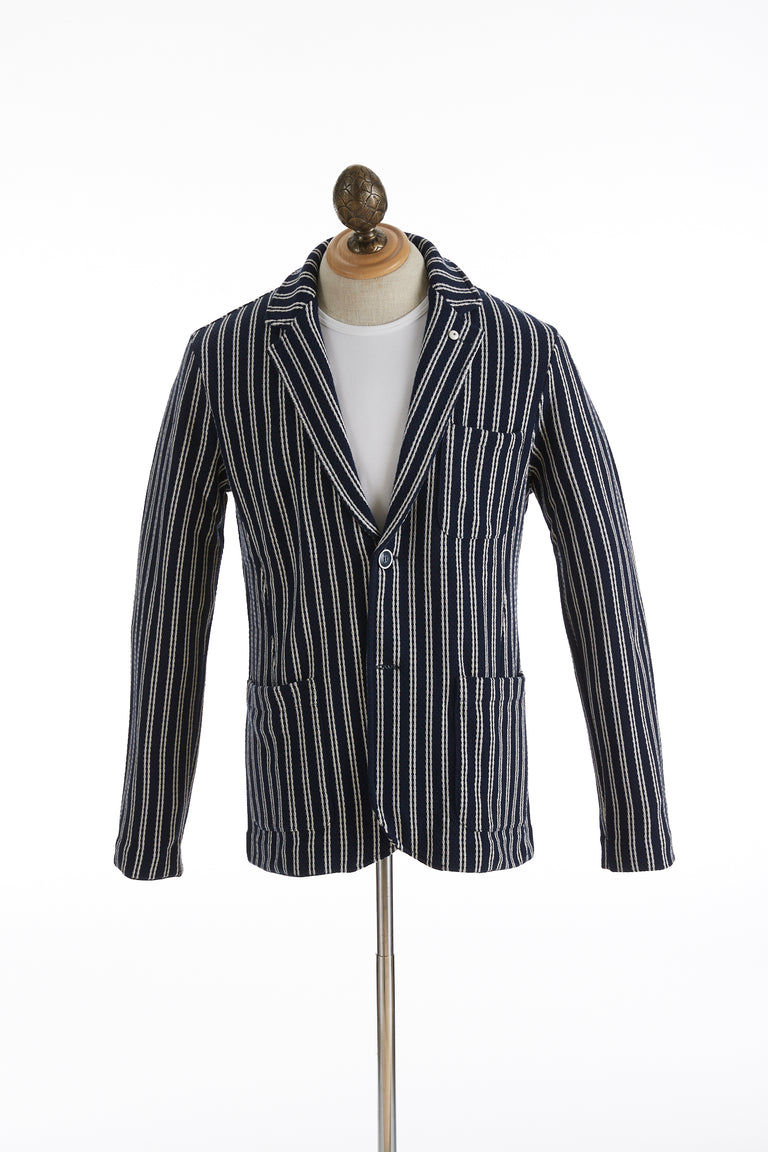 L.B.M. 1911 Navy Striped Cotton Sweater Jacket