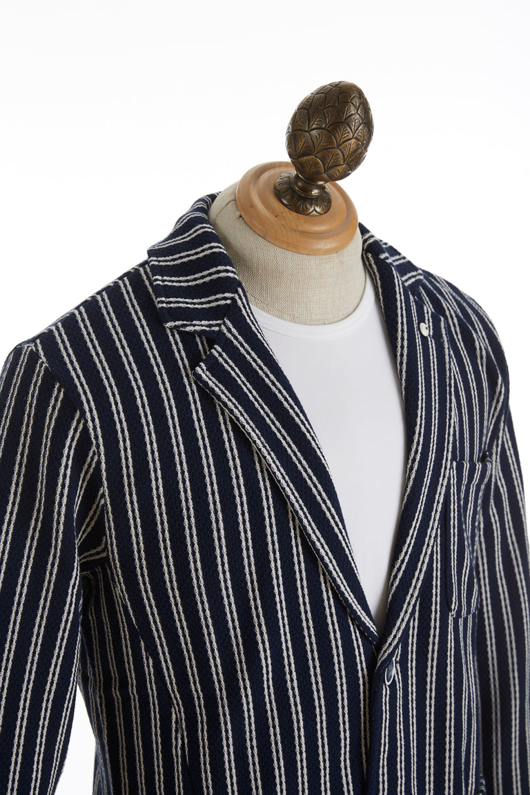 L.B.M. 1911 Navy Striped Cotton Sweater Jacket Lapel