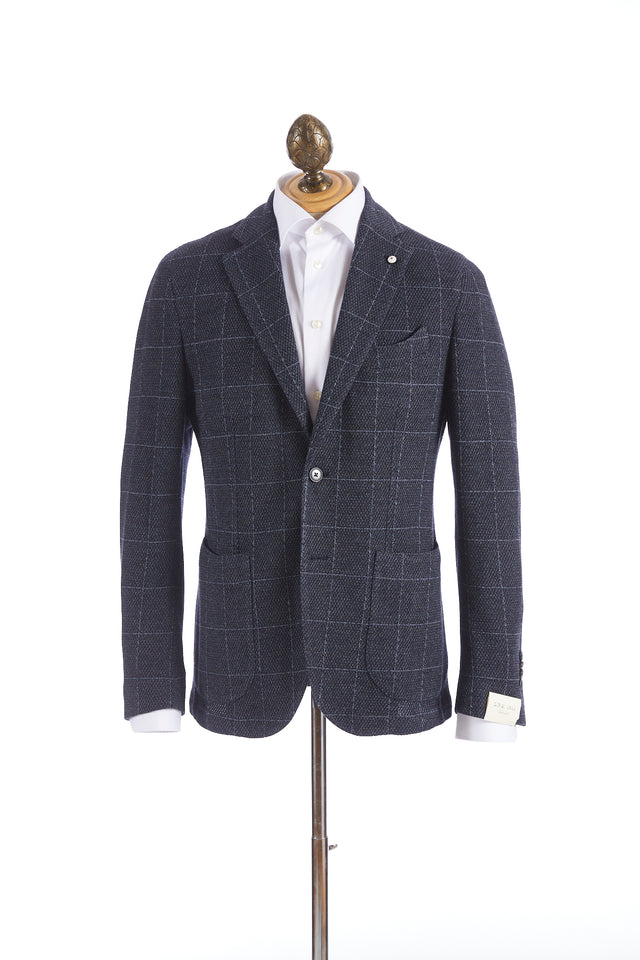L.B.M. 1911 Navy Stretch Pique Windowpane Sport Jacket - Sport Jackets - L.B.M. 1911 - LALONDE's