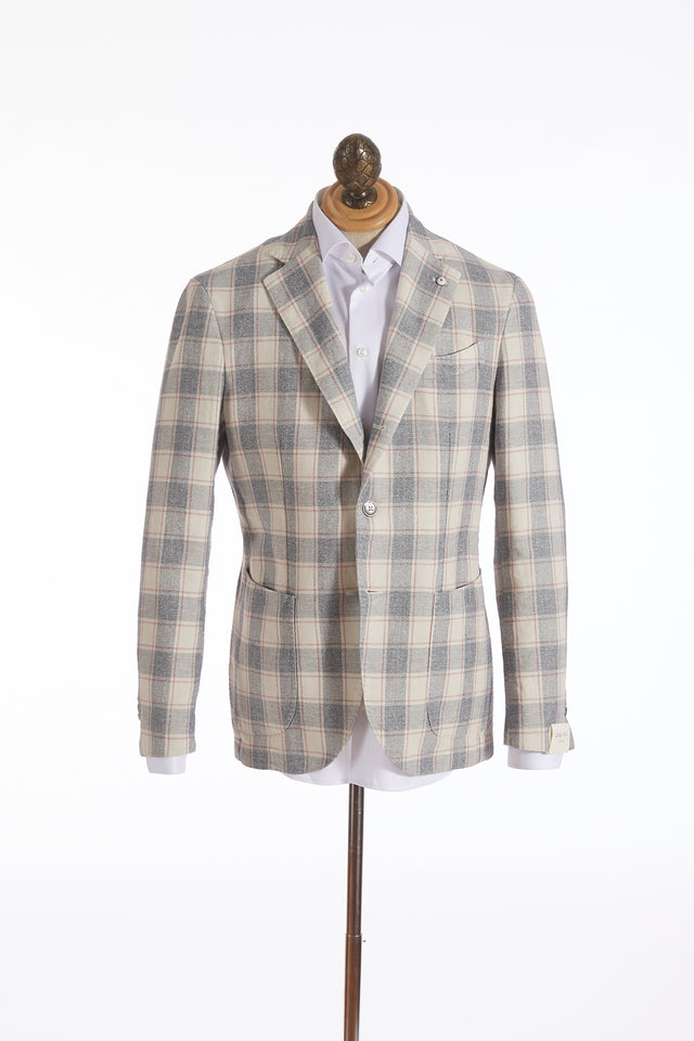 L.B.M. 1911 Off-White Glen Check Sport Jacket