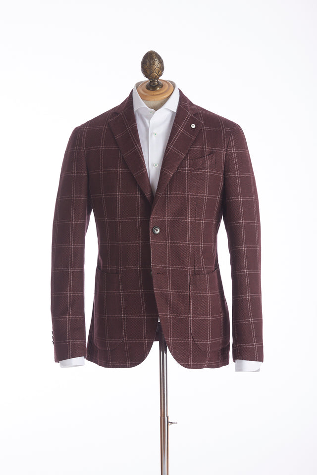 L.B.M. 1911 Red Windowpane Flax-Cotton Sport Jacket