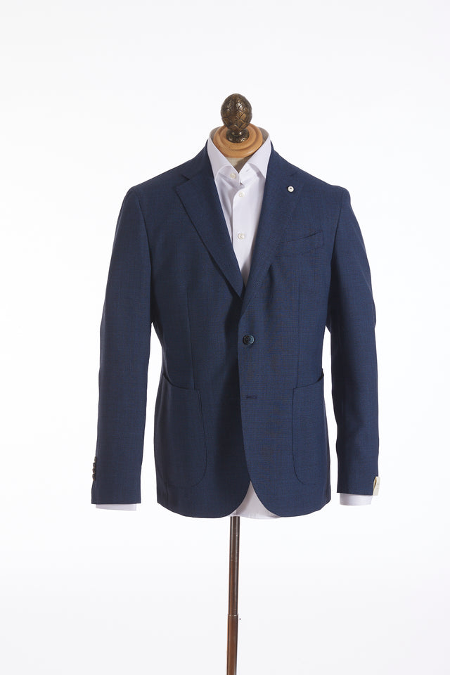 L.B.M. 1911 Royal Blue Mini Houndstooth Sport Jacket
