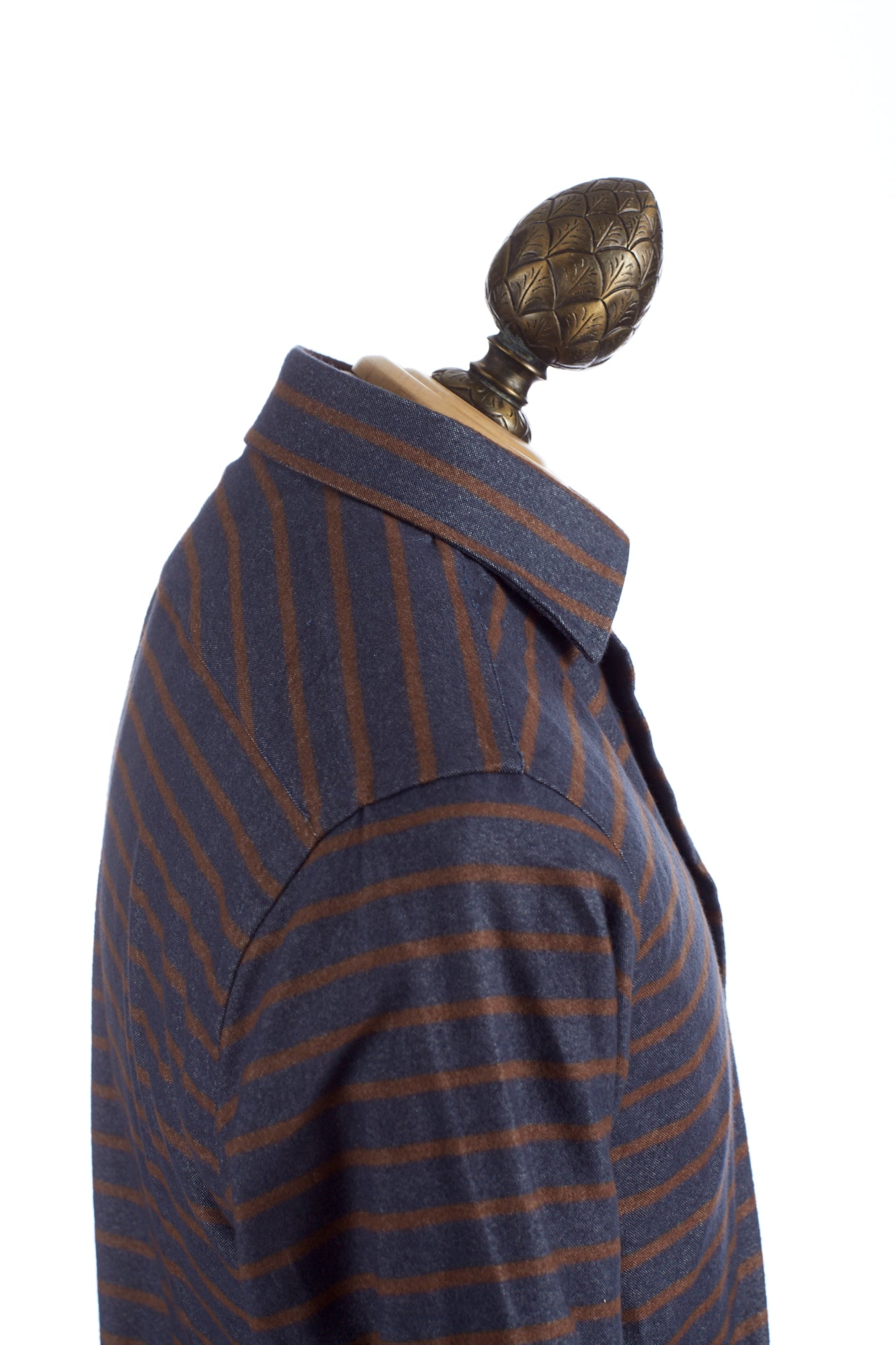 Lipson Heathered Blue with Rust Orange Stripes Flannel Shirt