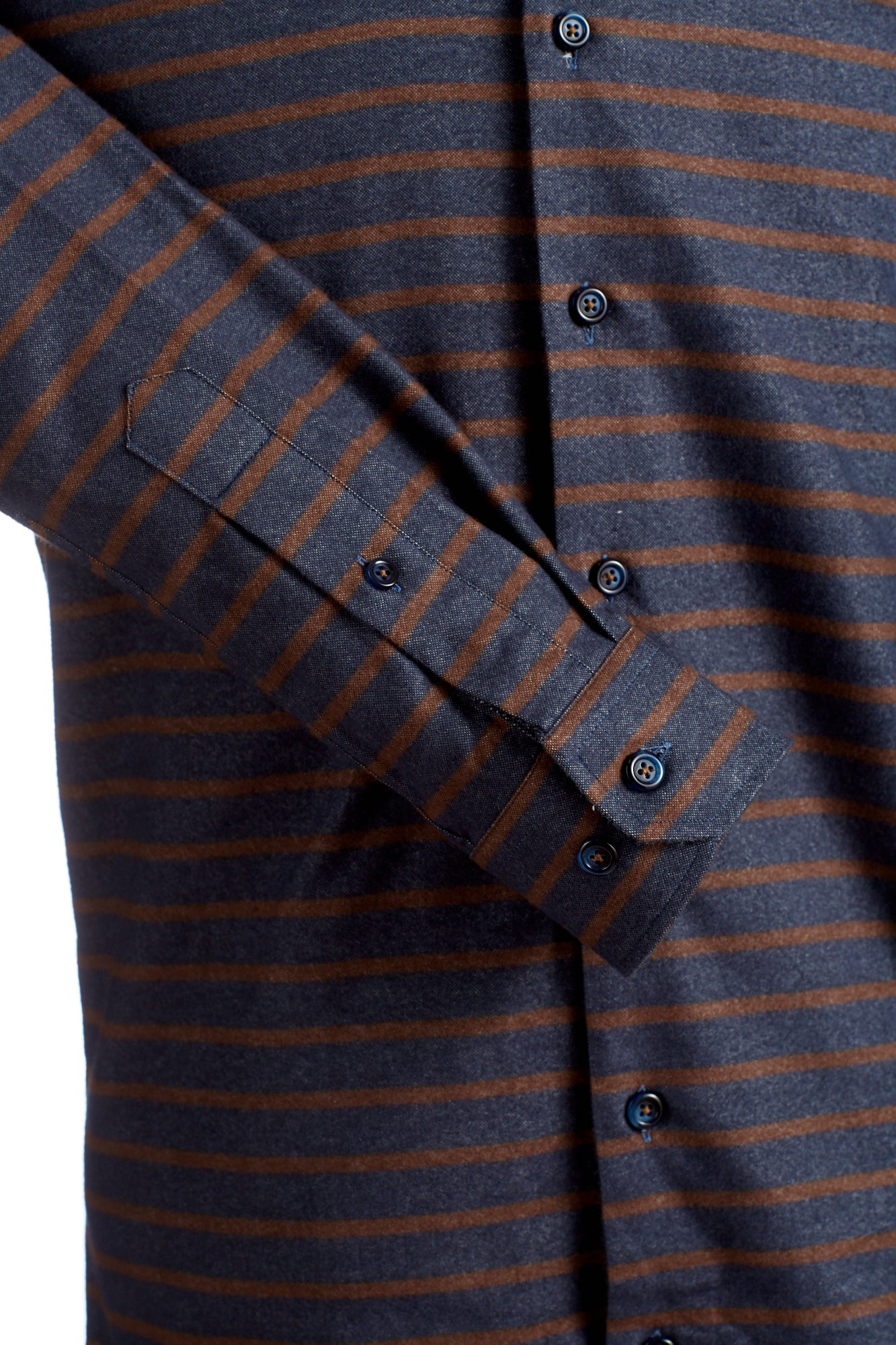 Lipson Shirts Heathered Blue with Rust Orange Stripes Flannel