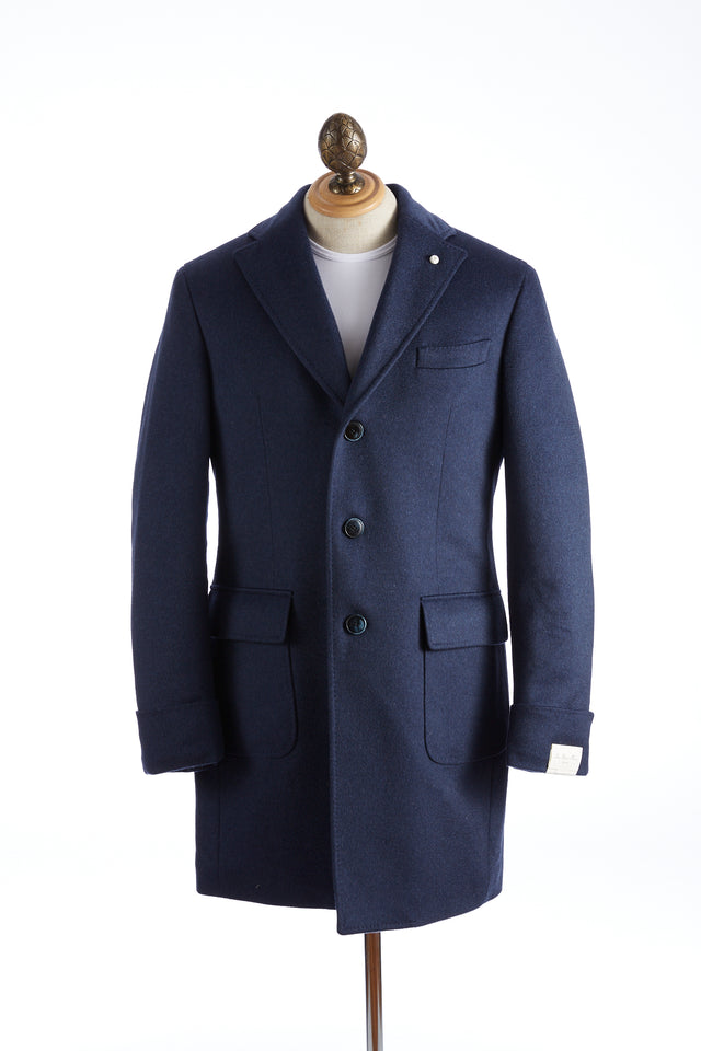 Luigi Bianchi Mantova Blue Colombo Thermo® Eco Hydro Tech Cashmere Insulated Topcoat - Outerwear - Luigi Bianchi Mantova - LALONDE's