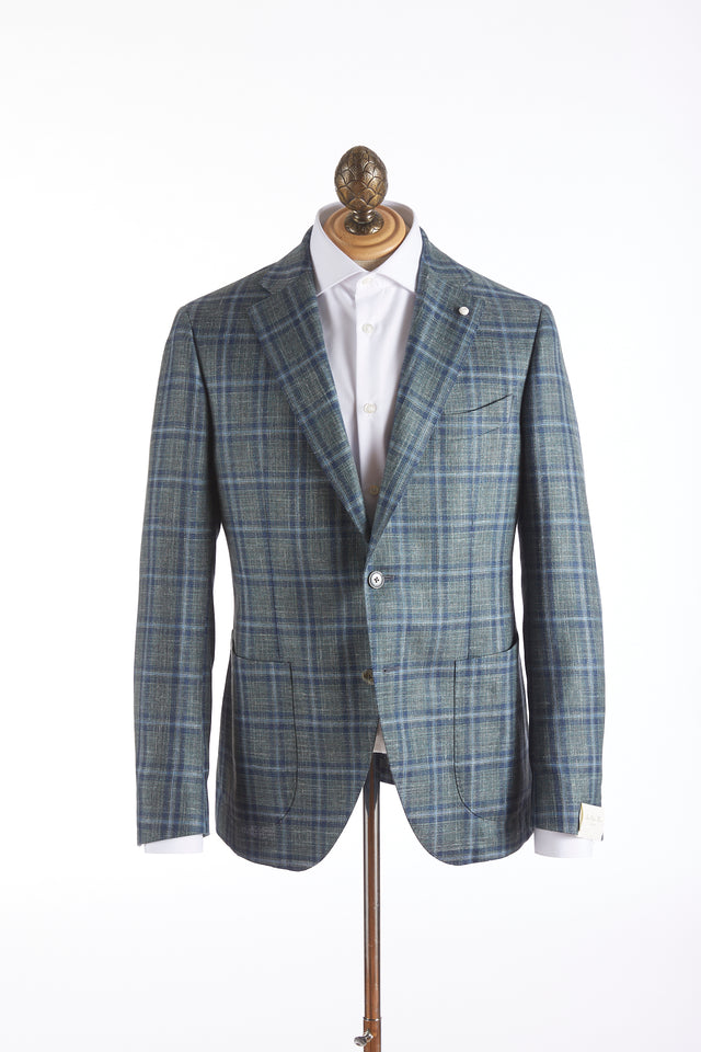 Luigi Bianchi Mantova Green Windowpane Loro Piana Sport Jacket
