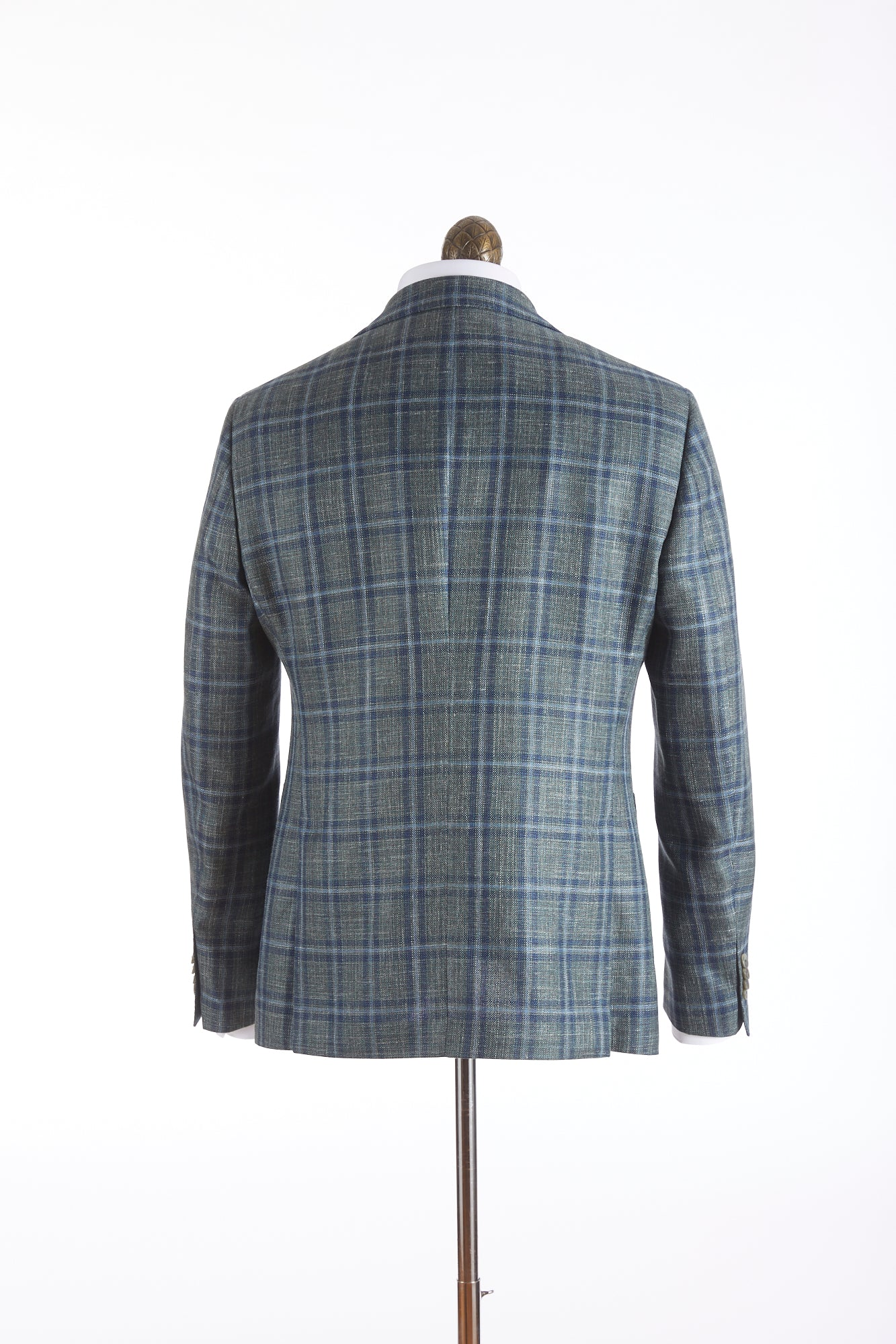 Luigi Bianchi Mantova Green Windowpane Loro Piana Sport Jacket Back
