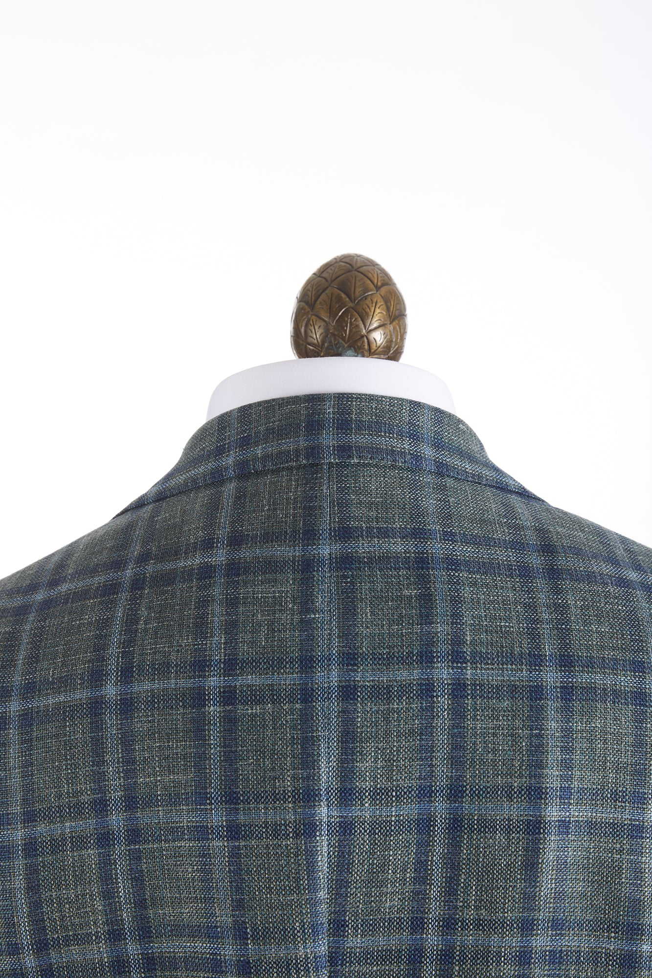 Luigi Bianchi Mantova Green Windowpane Loro Piana Sport Jacket Collar