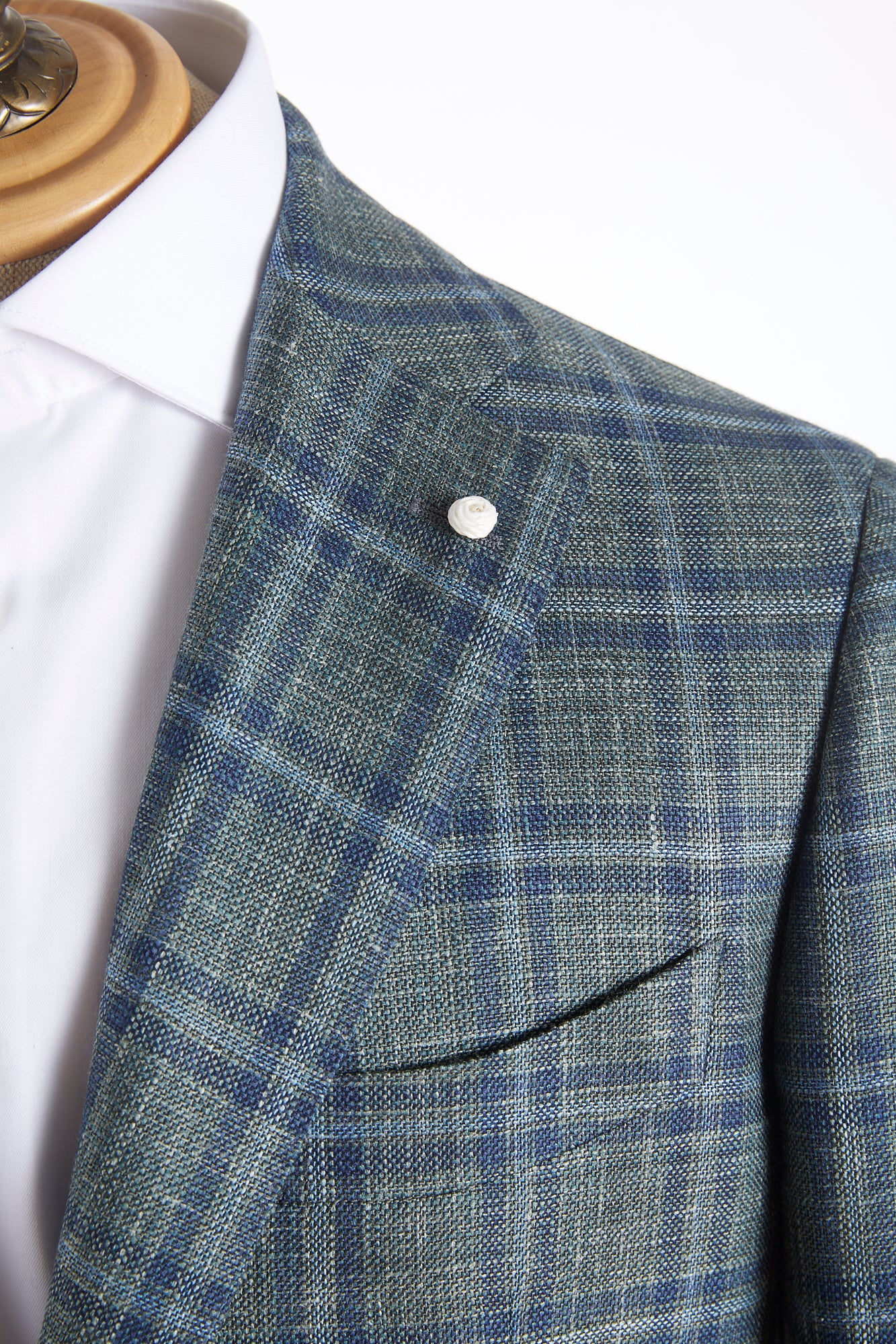 Luigi Bianchi Mantova Green Windowpane Loro Piana Sport Jacket Lapel
