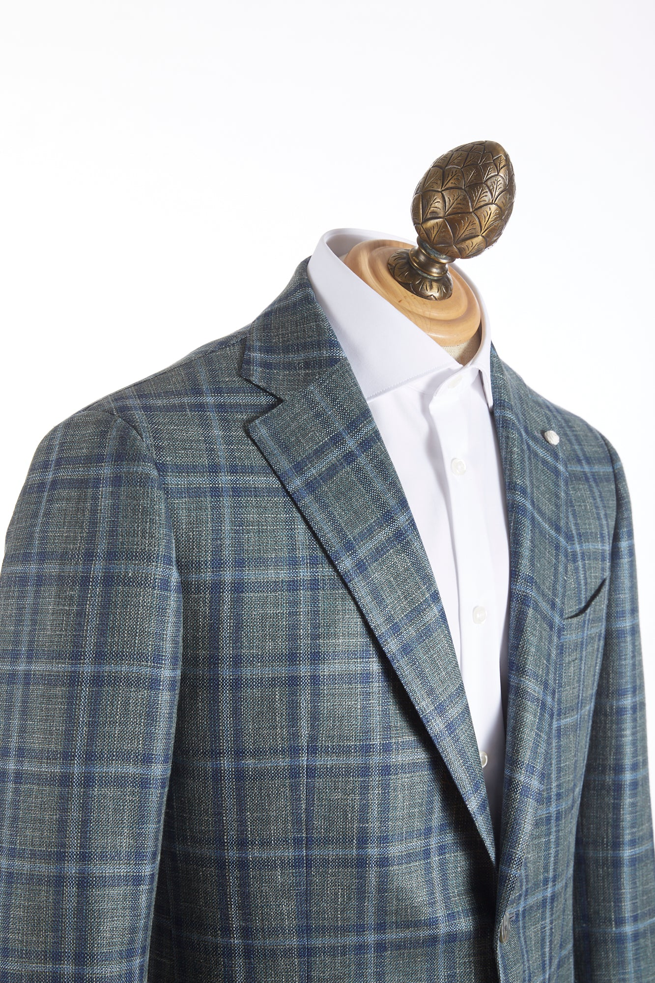 Luigi Bianchi Mantova Green Windowpane Loro Piana Sport Jacket Side