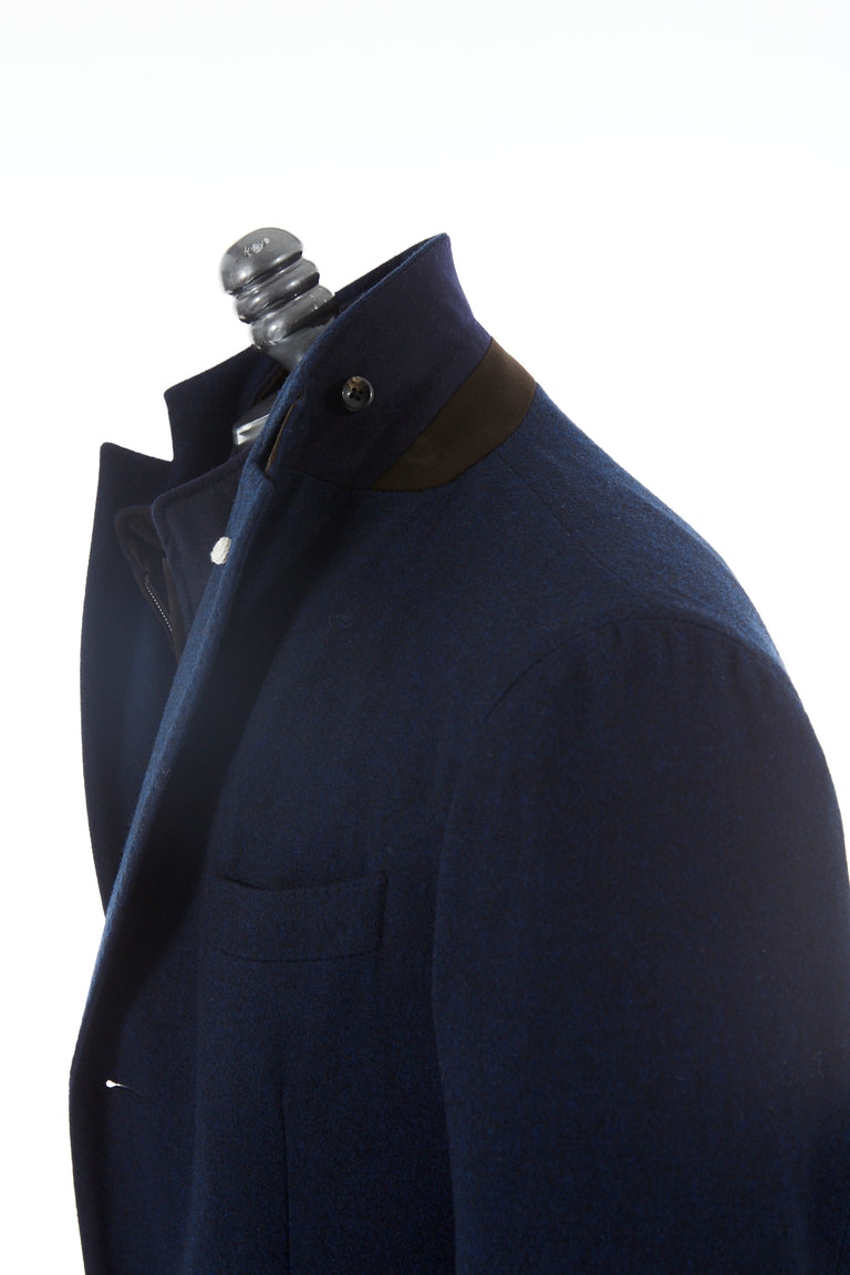 Luigi Bianchi Mantova Navy Loro Piana Green Storm System Topcoat Side