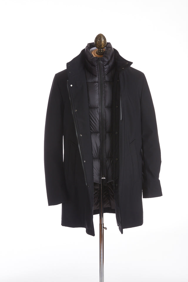 Montecore Black Technical Long Car Coat