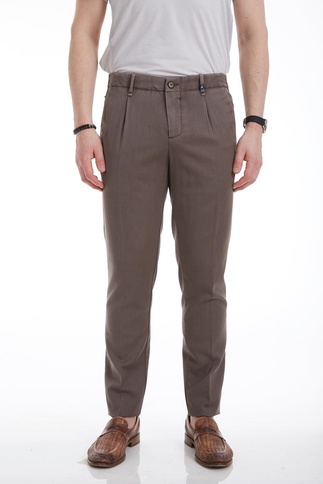 Myths Tan Washed Wool Pleated Pants