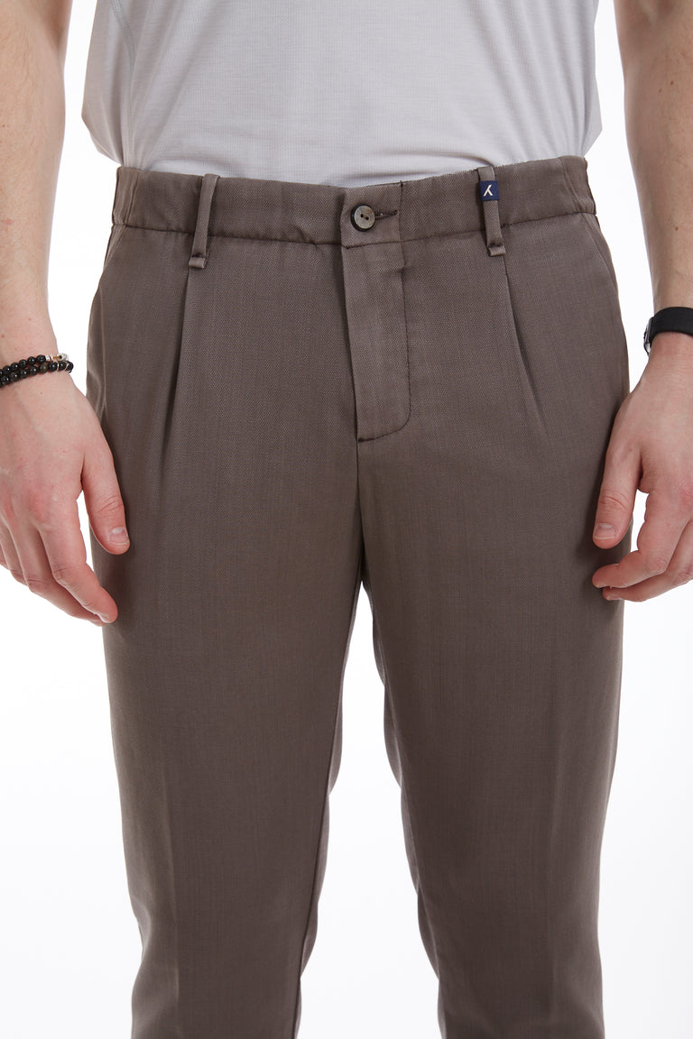 Myths Tan Washed Wool Pleated Pants Close