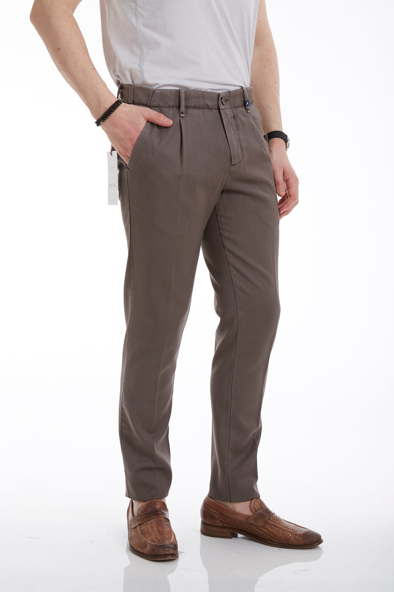 Myths Tan Washed Wool Pleated Pants Side