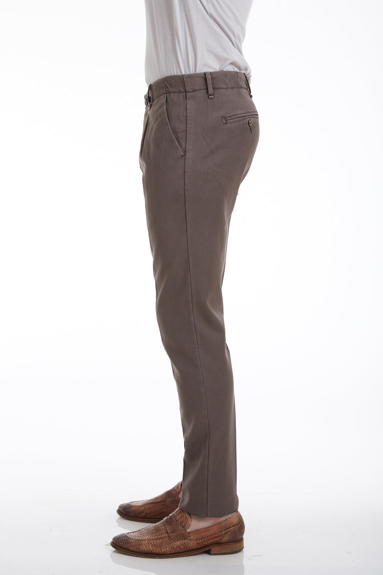 Myths Washed Wool Tan Pleated Pants