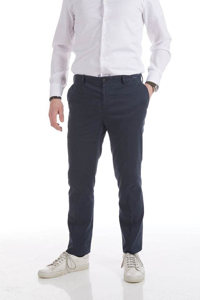Paul & Shark Cotton-Silk Navy Stretch Chinos